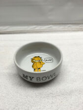 Cat dish Kitty bowl Garfield Feeding Ceramic Pottery Burp my bowl