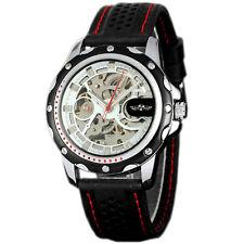 WINNER Skeleton Men's Automatic Mechanical Black Silicone Band Sport Wrist Watch