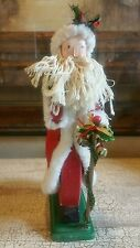 "Primitive Wood And Cloth Santa String Beard Figure Vintage 14"" Tall"