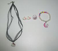 Lot Bague + Bracelet + Boucles + Collier Pendentif Hello Kitty Blanc & Noir