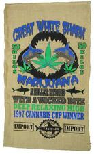 GREAT WHITE SHARK STRAIN MARIJUANA  BURLAP BAG pot leaf storage  #33 WEED BAGS