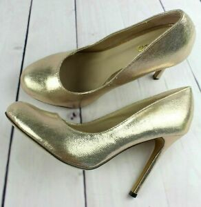 New Womens Gold Stilleto High Heels Slip On Smart Court Shoes Round Toe Sizes