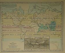 Vintage 1862 Colton Atlas Map  WORLD METEOROLOGY - PRINCIPAL PLANTS Old Original