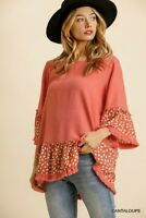 Umgee Linen Blend Animal Print Bell Sleeve Ruffle Hem Top