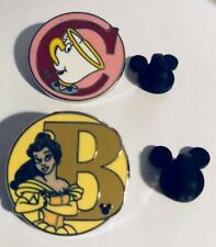 2 DISNEY TRADING PINS - BEAUTY AND THE BEAST LETTERS; B FOR BELLE C FOR CHIP