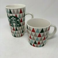 Lot 2 Starbucks Triangle Christmas Trees Coffee Cups Mugs 16 & 14 Oz Red Green