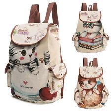 Women Cat Printing Canvas Drawstring Backpack Shopping Bag Travel Bag Rucksack
