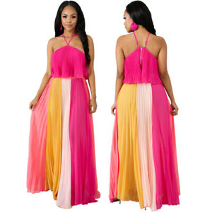 Women's Sexy Halter Ruffled Top Backless Dress Patchwork Pleated Dress 2pcs