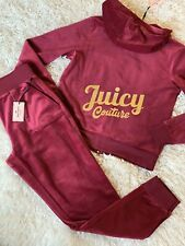 New Women's Juicy Couture Tracksuit Red Joggers Velour Hoodie Pants 2pc Gym Lr