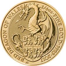 1/4 Pouces 999 Or Pièce en 25 LIVRES THE QUEENS Beasts Dragon of PAYS DE GALLES