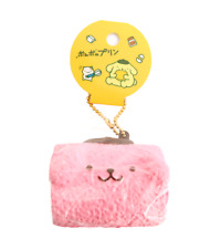 SANRIO POMPOMPURIN Pink Cake Roll Keychain NIC Kawaii Rare Squishy Squeeze Toy