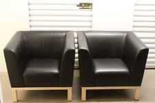 Erik Jorgensen Denmark Leather Lounge Chair Pair (Black With Maple Legs)