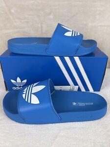 Mens adidas TREFOIL ADILETTE Lite Bright Blue Slides Sandals Flip Flops Size 11