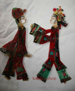 Chinese Cowhide Shadow Play Puppet--Scholar & Lady(Arms legs Can move)W2554