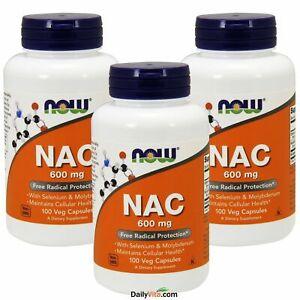 3 x NOW® FOODS NAC N-Acetyl Cysteine 600 mg 100 Veg Capsules FRESH Made In USA