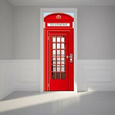 3D Red Telephone Booth Door Wrap Vinyl Removable Wall Sticker Home Decor Mural