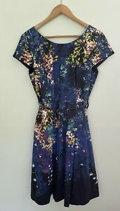TABLE EIGHT capped sleeve fit & flare mid length corporate office belted dress