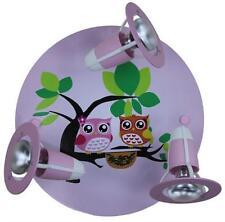 Kinderzimmerlampe rosa Strahler Rondell Eule Kinderleuchte Rondell 3 flg. :
