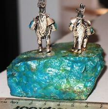 Miniature silver Llamas mounted on a beautiful chrysocolla specimen Peru