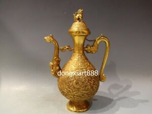 """12"""" Chinese Pure red copper 24K Gold dragon phoenix Lion Animal Wine pot Teapots"""