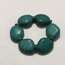 Retro Style Blue Turquoise Stone Chunky Stretch Beaded Bracelet Costume Jewelery