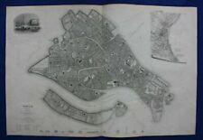 VENICE CITY PLAN, VENEZIA, ITALY, original antique map, SDUK, 1844