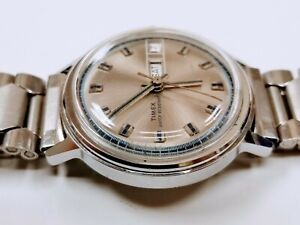 "Vintage 1975 Timex Marlin ""Sportster"" Watch 26850 2775 Runs Silver Blue  Nice!!"