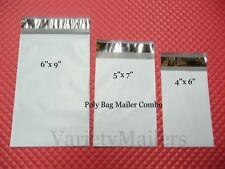 60 Small Poly Envelope Mailer Variety Pack ~ 20 Each 4x6 5x7 6x9 Self-Sealing
