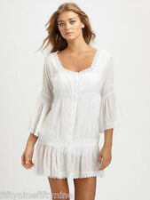 NEW AUTHENTIC MELISSA ODABASH WHITE CROCHET  KAFTAN / DRESS SIZE LARGE