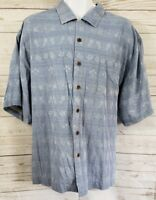Bermuda Bay Hawaiian Shirt 100% Silk 2XL XXL Men Blue Floral Short Sleeve Camp