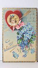 1910 Vintage Valentine Post card Tuck FLORAL MISSIVES Girl in Heart ForgetMeNots