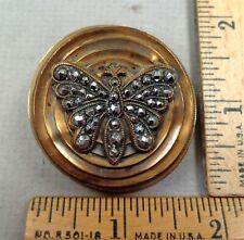 BUTTERFLY, 1800s 1-Piece Brass BUTTON, Cut-Steel Design, LARGE