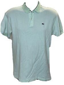 VINEYARD VINES Men's Polo Shirt Light Green/White Striped  Short Sleeve Size M
