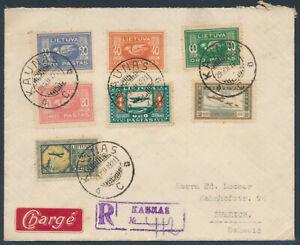 Litauen Flugpost Satzbrief Einschreiben Kaunas 1921 nach Zürich Schweiz (4527)