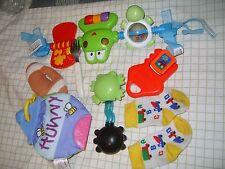 Lot of 7 Infant/Toddler Toys Play Bar Crinkle Book Rattles Teethers Socks Fork