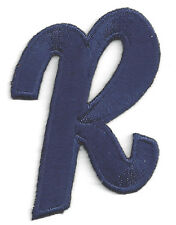 """LETTERS - Navy Blue Script  2"""" Letter """"R"""" - Iron On Embroidered Applique"""