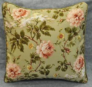 NEW Corded Pillow made w Ralph Lauren Yorkshire Rose Floral Green Fabric 18x18