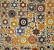 Jewish Judaica Fabric Tossed Stars on Beige