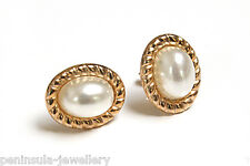 9ct Gold Oval Pearl Stud earrings Made in UK Gift boxed