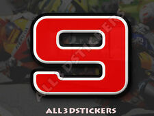 3D Stickers Resin Domed NUMBER 9 NINE - Color Red - 50 mm(2 inches) Adhesive
