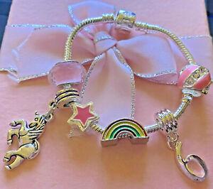 childrens kids girls  pink unicorn heart charm bracelet in gift box