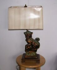 Antique Frederick Cooper Cast Bronze Foo Dog Lamp Ming-Style Mahogany Base Shade