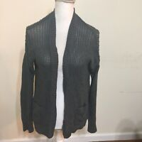 Gap Women's Gray Knit Ribbed Trim Open Front Cardigan Sweater Wrap XS Open Knit