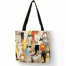 Oil Painting Style Cat Print Women Linen Tote Bags Reusable Shopping Bag