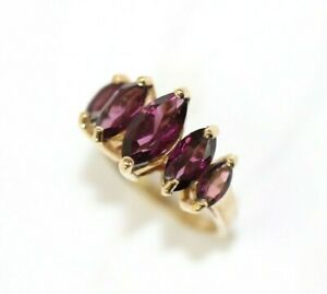 10K YELLOW GOLD, Syn. Marquise TOURMALINE Womens Ring: SIZE 4.75, 3.8 Grams
