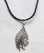 Indianer Häuptling Halskette Lederband Navajo Cherokee Sioux Apachen necklace