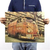 FD3192 Vintage Retro Old Kraft Paper Home Office Decorating Post Retro Bus 50CM☆