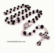 Unbreakable Virgin Mary Rosary Beads In Onxy w Black Enamel Italian Crucifix