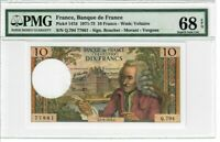 France 10 Francs Banknote 1972 Pick#147d PMG Superb GEM UNC 68 EPQ - Vintage