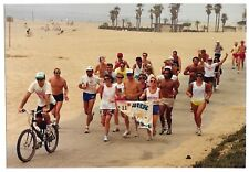 Vintage 80s PHOTO Group Guys & Gals Runners At Beach Beer Run Event